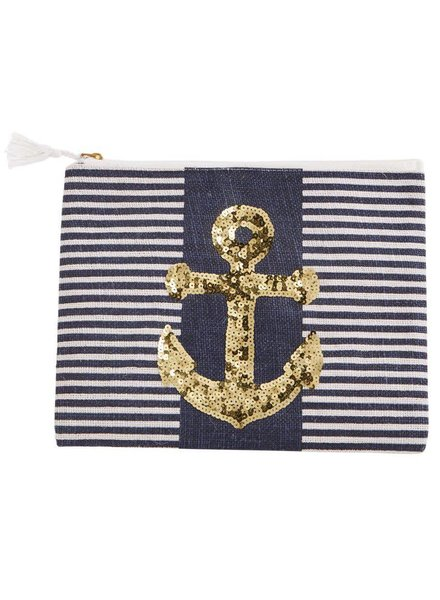 Mudpie Navy Striped Case With Anchor Sequins