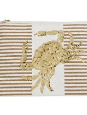 Mudpie Tan Striped Case With Crab Sequins