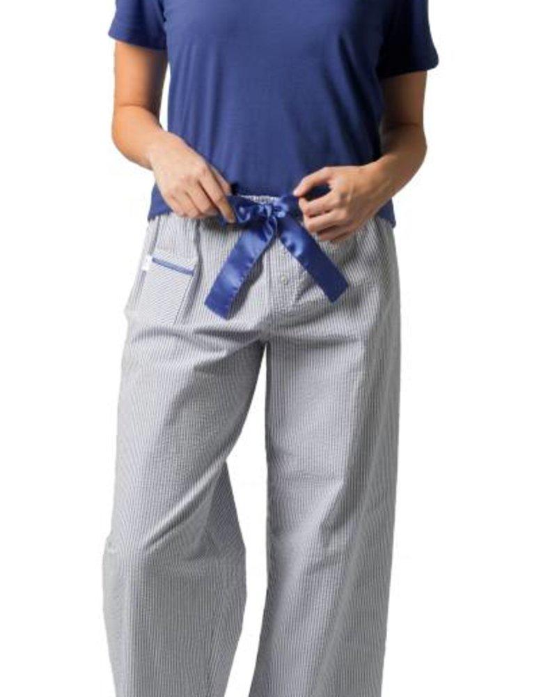 Boxercraft Ladies Navy Seersucker Pant