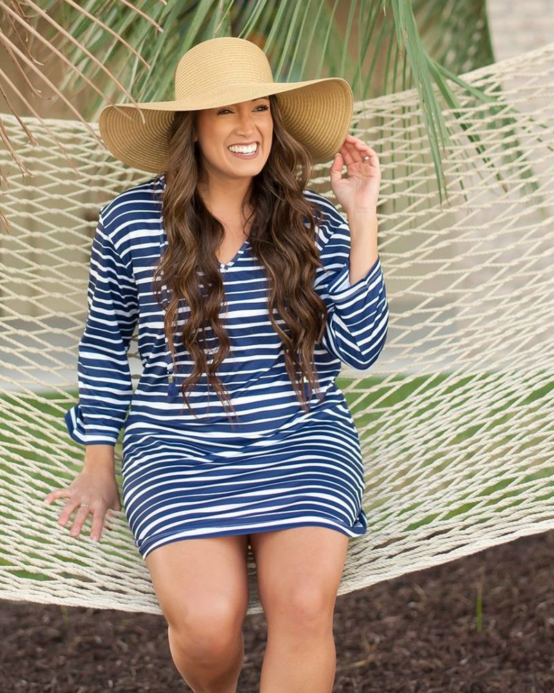 Wholesale Boutique Navy & White Striped Beach Tunic