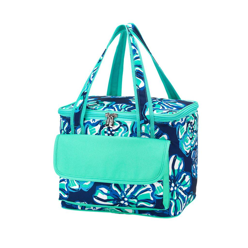 PERSONALIZED TROPICAL BLUE FLOWERS BEACH BAG TOWEL INSULATED COOLER TOTE COVERUP