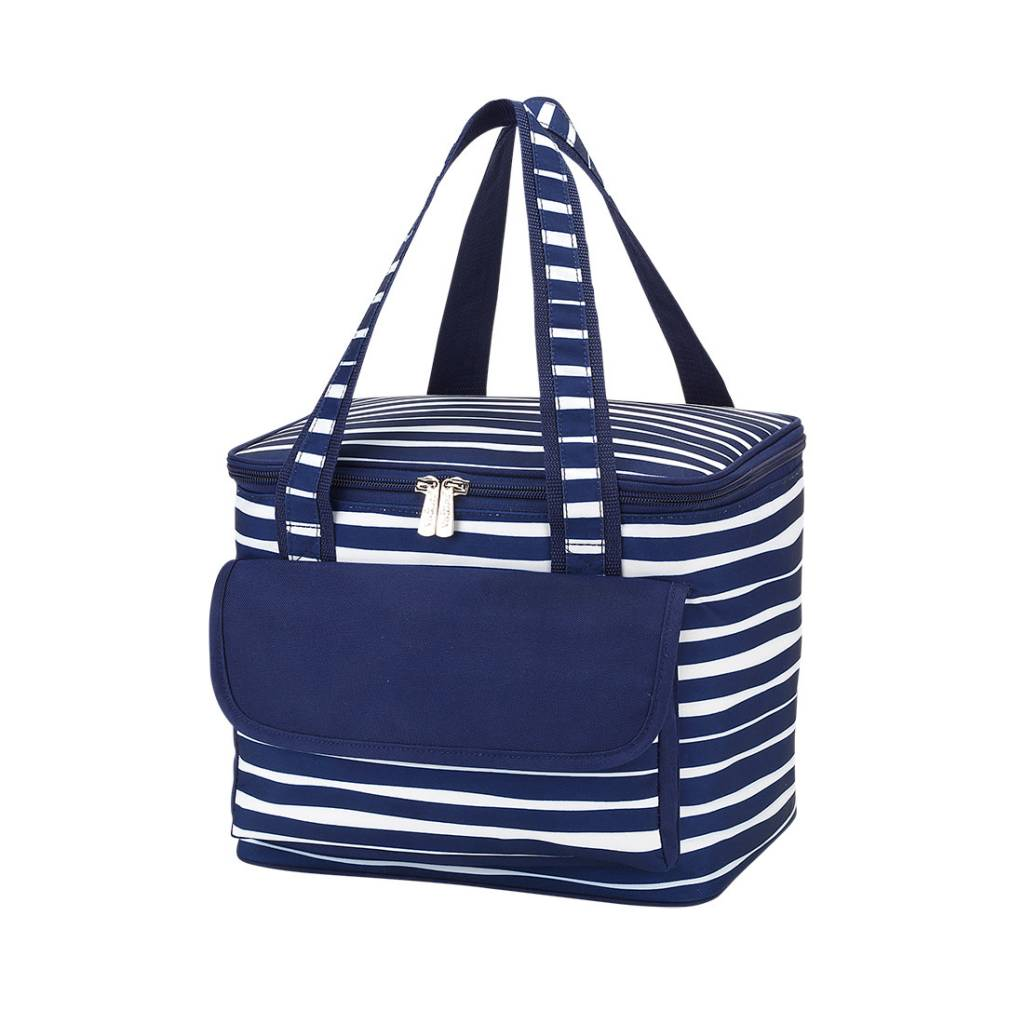 Tidelines Blue White Striped Cooler Bag Personalization Included