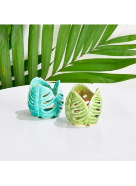 Two's Company Palm Leaf Tealight Candleholders (2 Colors)