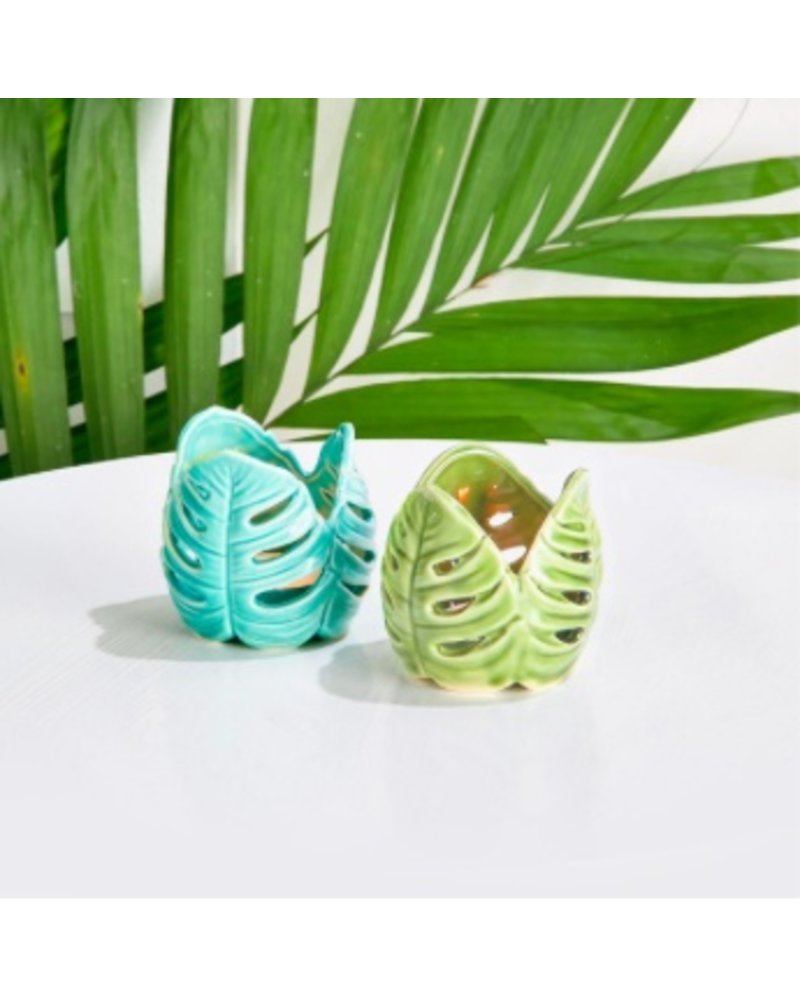 Two's Company Monstera Palm Tealight Candleholders