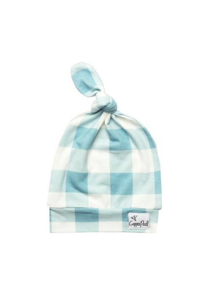 Copper Pearl Blue Gingham Top Knot Hat