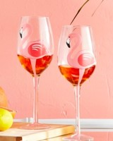 Two's Company Flamingo Wine Glass