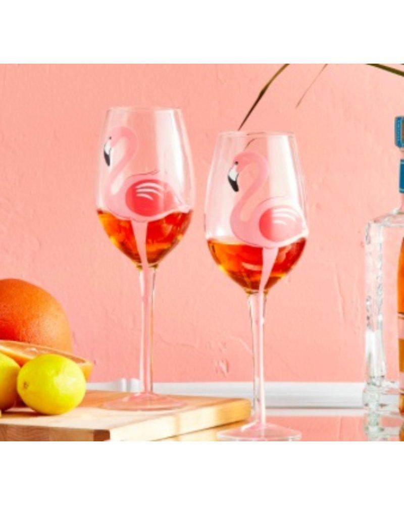 Two's Company Flamingo Wine Glass