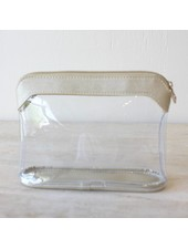ROYAL STANDARD Metallic Trim Clear Cosmetic Bag (2 Color Options)