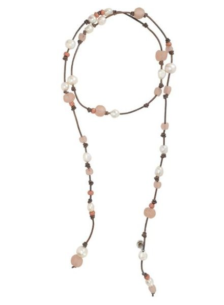 Sea Lustre Lariat Pearl Wrap Necklace With Pink Beads
