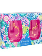 Lilly Pulitzer Mermaids Cove Stemless Wine Glass Set