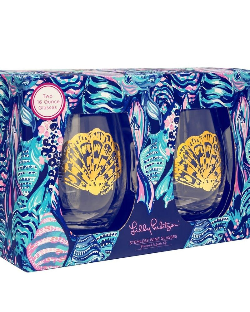 Lilly Pulitzer Scale Up Stemless Wine Glass Set