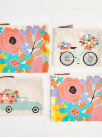Two's Company Flower Market Set of 2 Pouches - Truck & Bicycle