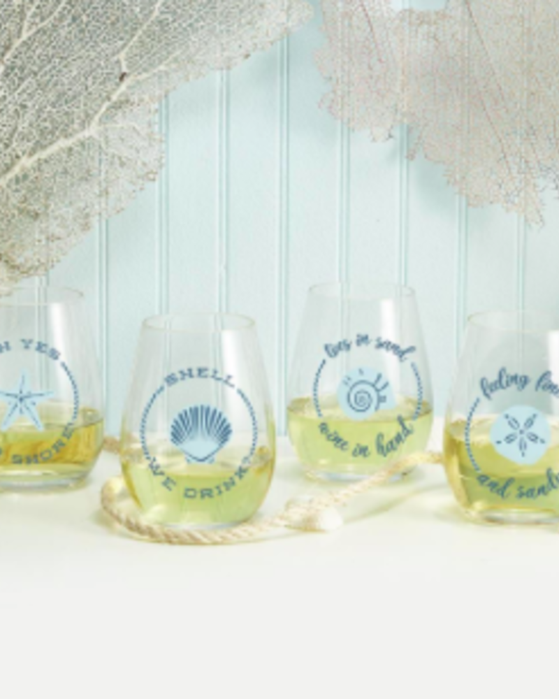Two's Company Shell Stemless Wine Glass Set