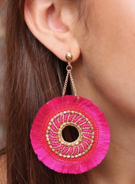 Caroline Hill Hot Pink & Gold Fringe Earrings