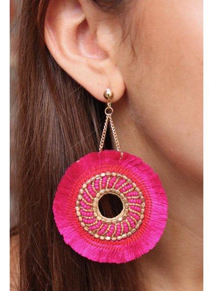 Caroline Hill Hot Pink & Gold Fringe Earrings