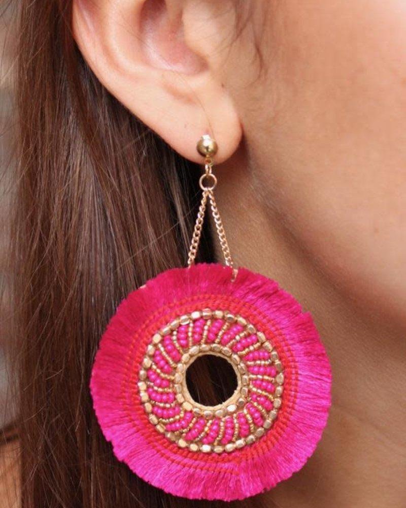 Caroline Hill Hot Pink Fringe Earrings