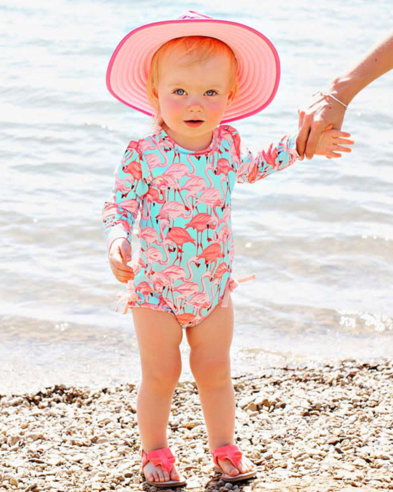 Ruffle Butts Fab Flamingo One Piece Rash Guard