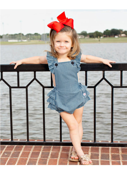 Ruffle Butts Light Denim Flutter Romper