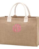 Wholesale Boutique Monogrammed Burlap Tote Bag