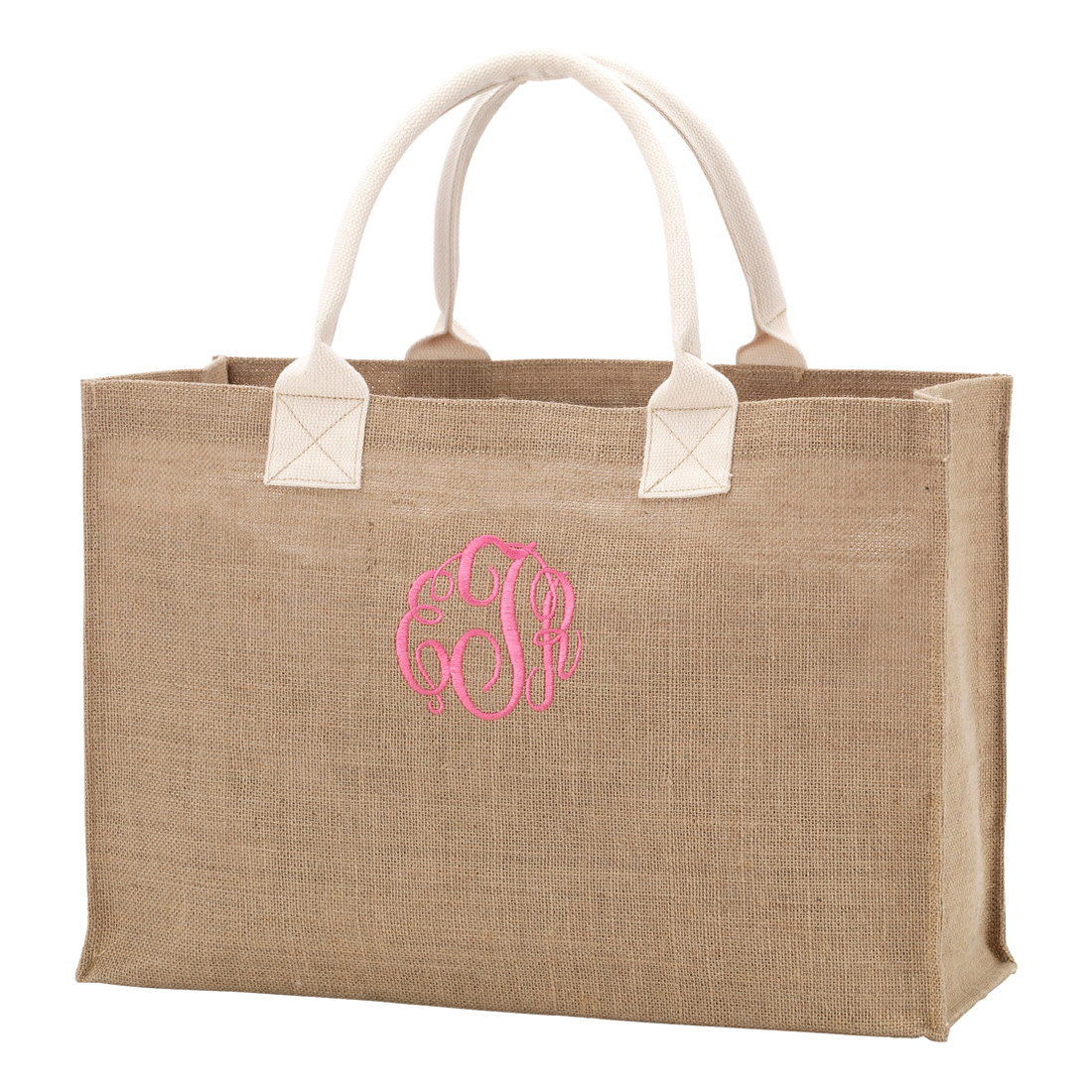 Monogrammed Burlap Tote Bag Embroidery Personalization Included