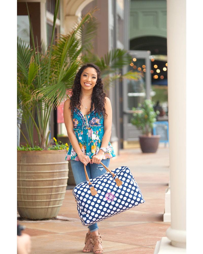 Wholesale Boutique WB Travel Bag - Polly Navy Polka Dot