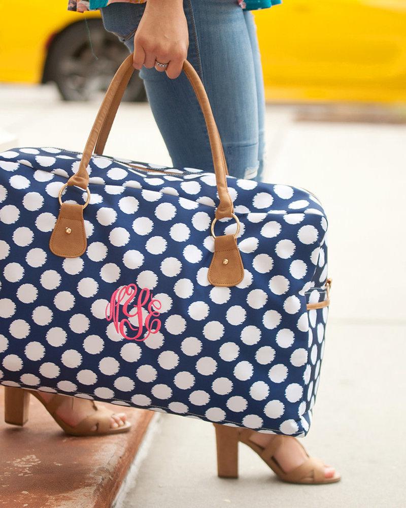 Wholesale Boutique Polly Navy Polka Dot Travel Bag