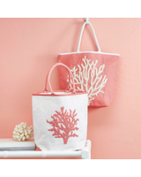 Two's Company Coral Beaded Tote Bag - 2 Color Choices