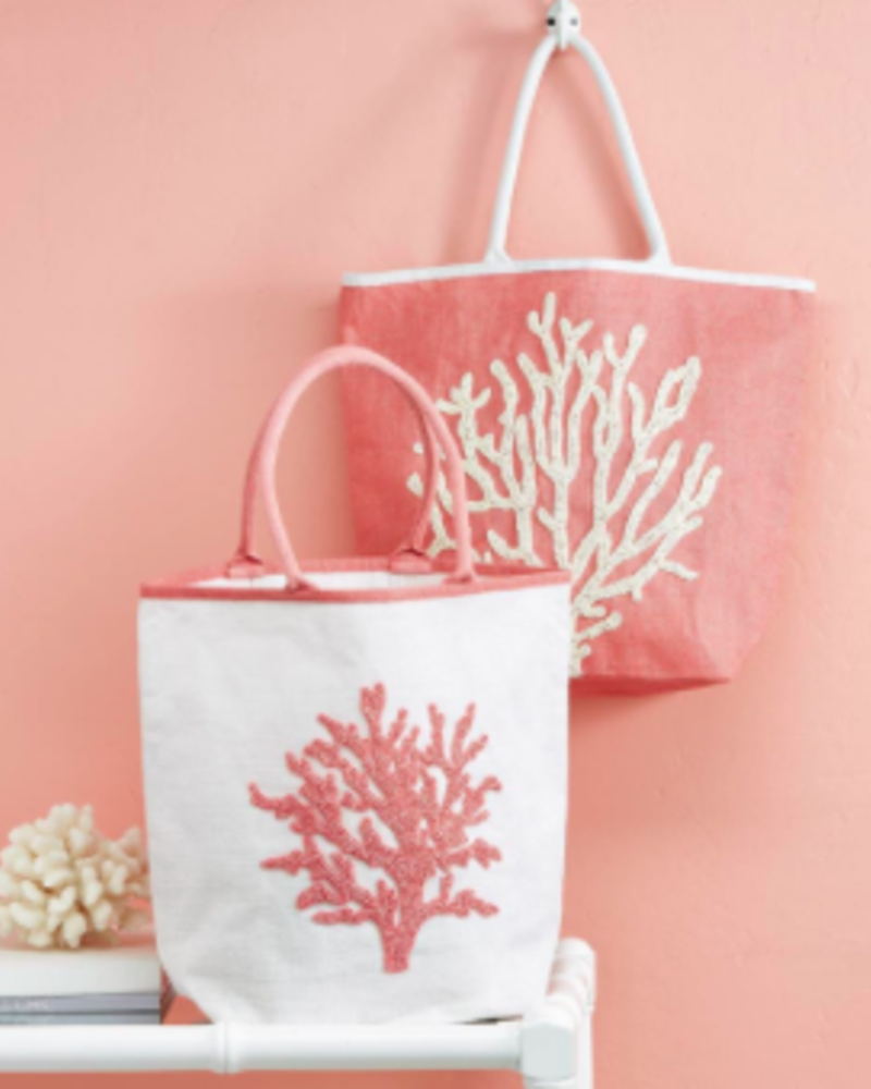 Two's Company Coral Beaded Tote Bag