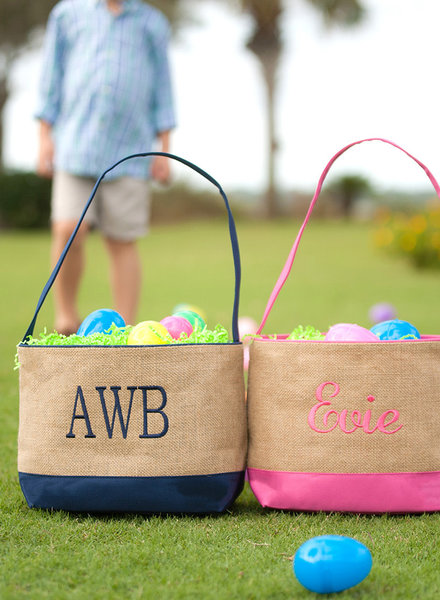 Wholesale Boutique Burlap Easter Bucket - Navy or Pink