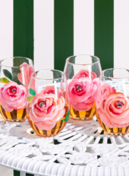 Two's Company Hand-Painted Rose Wine Glasses