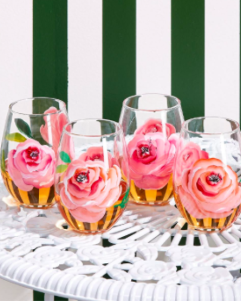 Two's Company Hand-Painted Floral Stemless Wine Glass