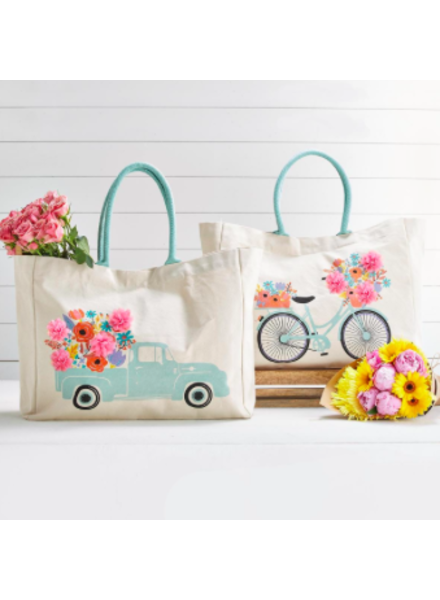 Two's Company Flower Market Tote Bags - Truck & Bicycle