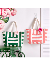 Two's Company Pink or Green Striped Tote Bag With Rose