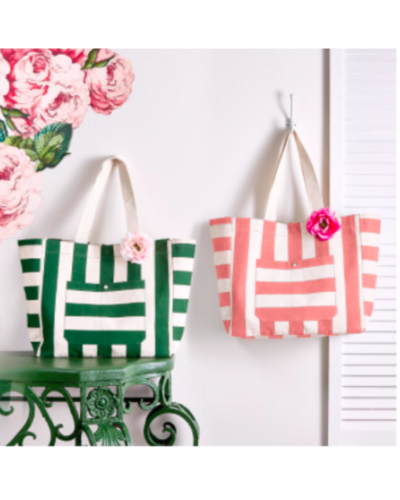 Two's Company Monogrammed Striped Tote Bag With Rose