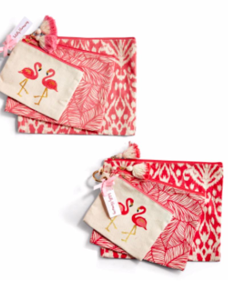Two's Company Two's Company Flamingo Pouch Set