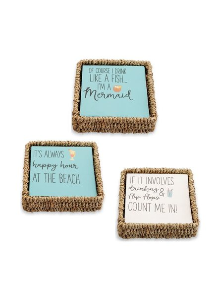 Mudpie Beach Cocktail Napkin In Basket - 3 Designs