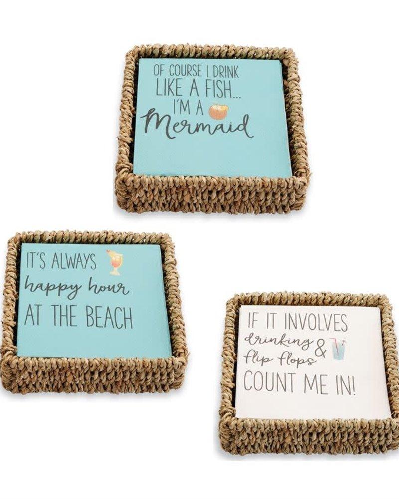 Mudpie Beach Themed Cocktail Napkin Basket Set