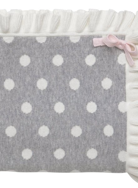 Elegant Baby Grey Polka Dot Ruffle Trim Baby Blanket