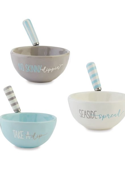 Mudpie Mudpie Seaside Dip Cup & Spreader - 3 Sayings