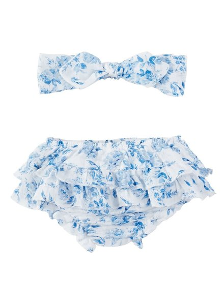 Mudpie Blue Garden Rose Headband & Bloomers Set