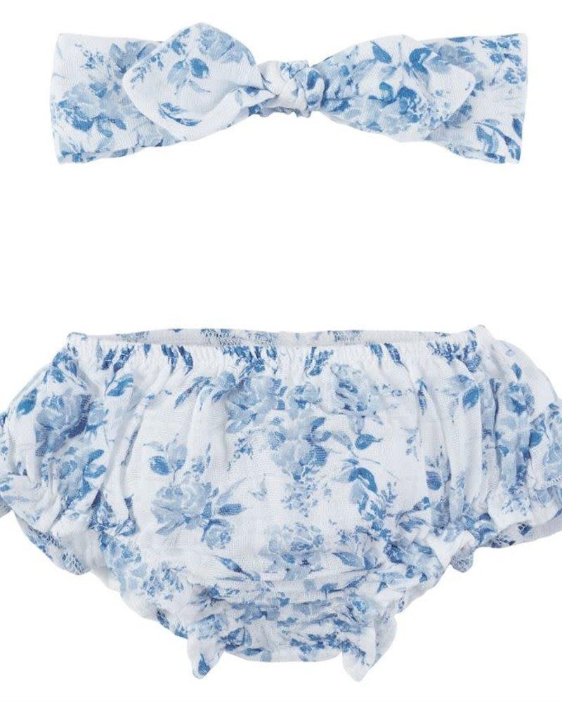 Mudpie Blue Garden Rose Headband & Bloomers Set