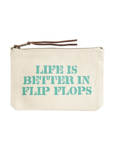 Mudpie Canvas Zip Pouch - 6 Beach Sayings