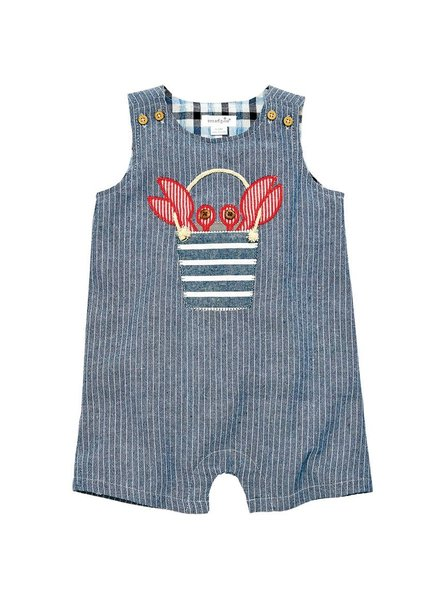 Mudpie Baby Boy Crab Shortall With Monogram