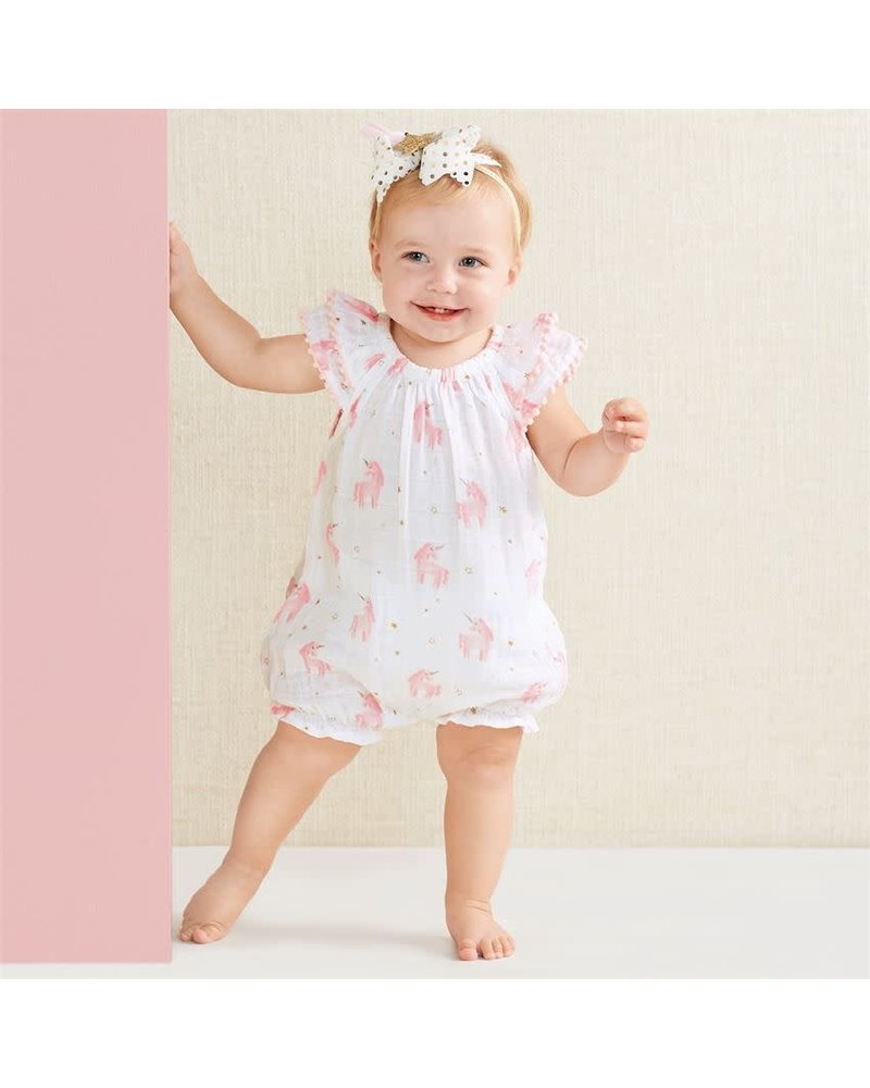 Mudpie Muslin Unicorn Romper With Personalization