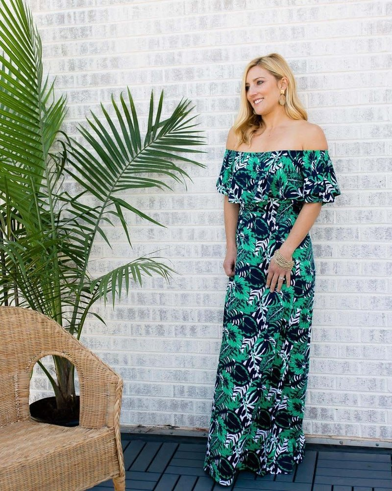 Mary Square Havana Palm Ruffle Maxi Dress