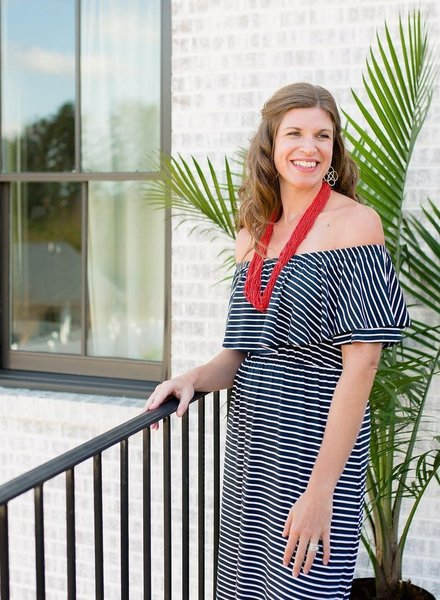 Mary Square Striped Ruffle Maxi Dress
