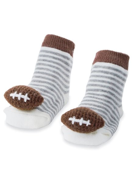 Mudpie Football Rattle Toe Baby Socks