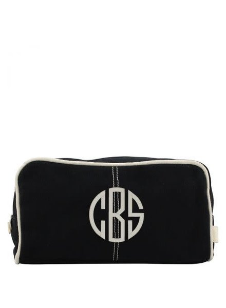 CB Station Monogrammed Black Canvas Dopp Kit