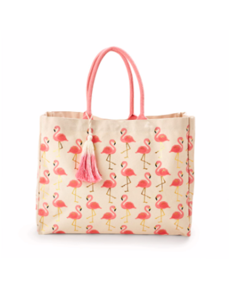 Two's Company Flamingo Print Tote Bag