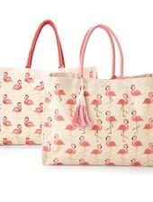 Two's Company Flamingo Print Tote With Monogram